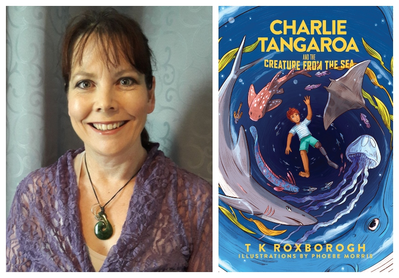 Photograph of a middle-aged woman, hair up, smiling intensely; cover of a chapter book showing a boy in a whirlpool of sea creatures
