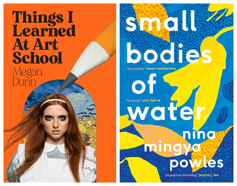 One bright orange book cover featuring a giant pencil and a doe-eyed girl; one blue book cover with the most beautiful illustration of kōwhai flowers