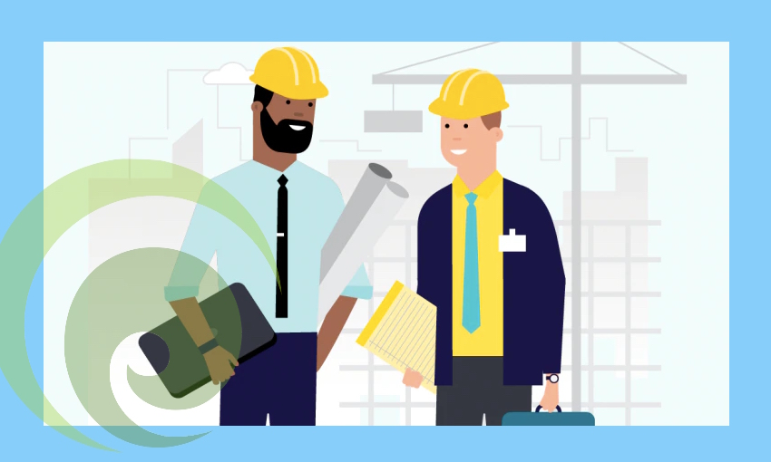 Illustration of construction worker and business business