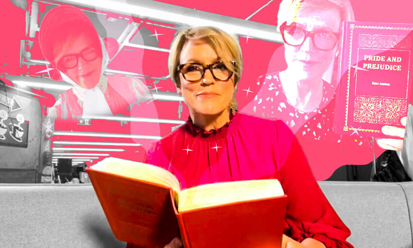 Collage of images of Hilary Barry holding Pride & Prejudice and looking at camera, bright and happy, red tones
