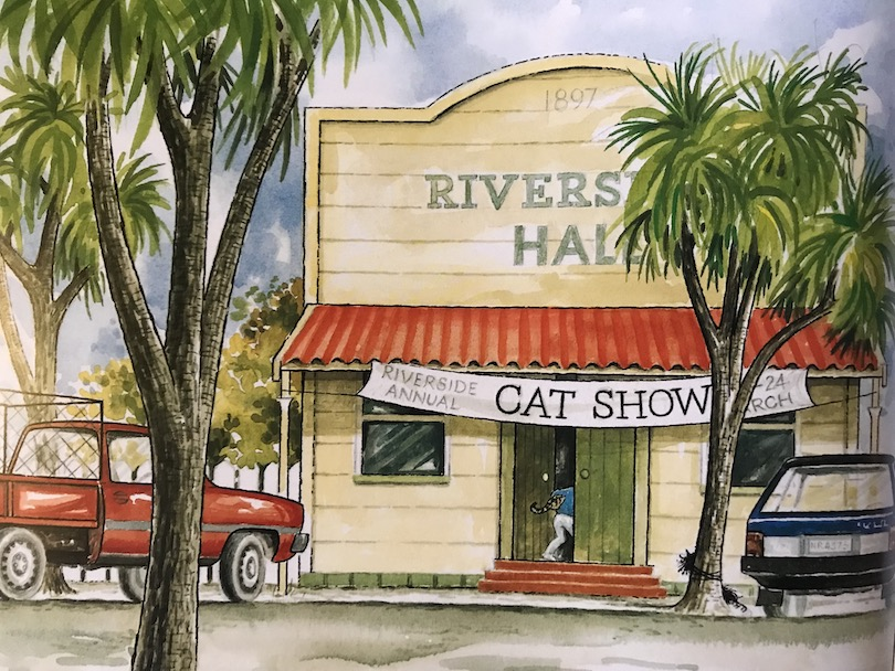 An illustration showing the Riverside Hall flanked by tī kōuka, a ute and a car pulled up outside.