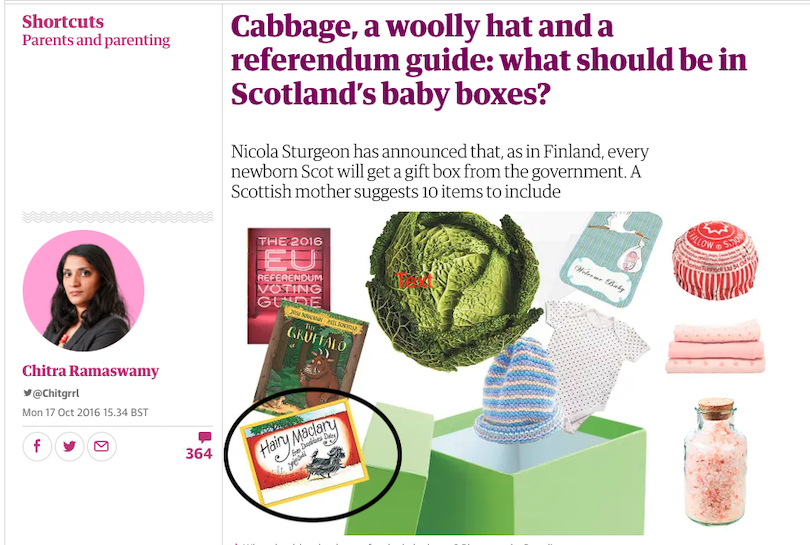 """A screenshot from The Guardian showing an array of items that would go in a Scots """"baby box"""" including the Hairy Maclary books"""