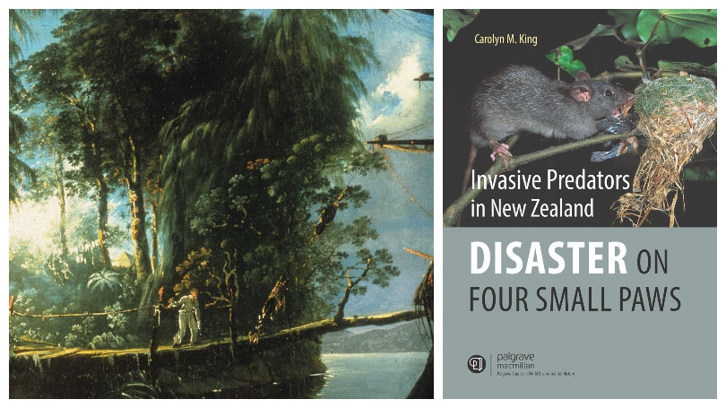 Left panel is an oil painting showing a tree trunk being used as a plank between a sailing ship and the Fiordland shore. Right panel is a book cover showing a rat.