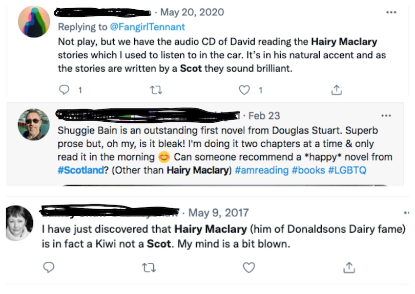 Three tweets in which people casually assume Hairy Maclary is Scottish