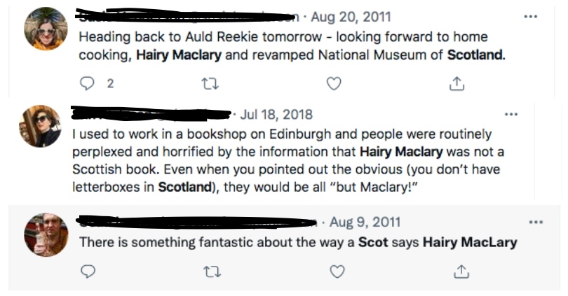 Three more tweets illustrating the assumption that Hairy Maclary is Scottish