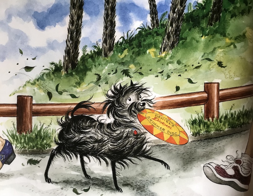 Illustration of Hairy Maclary the terrier, frisbee in mouth, trotting past a bunch of big hairy ponga trucks