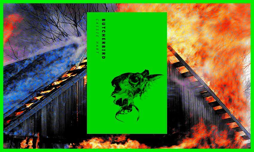 Shocking lime-green cover of Butcherbird set on top of image of burning barn