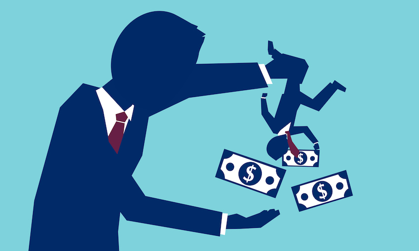 illustration of a person being shaken and money falling out