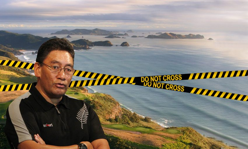 """Picture of Hone Harawira over a Northland beach with tape across it that reads """"do not cross""""."""