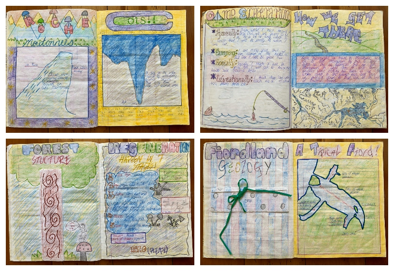 Four panels showing an old school exercise book, every inch of the pages coloured in and beautifully decorated