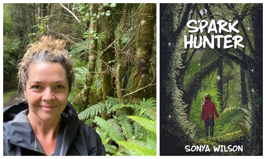Selfie of Sonya Wilson as an adult in dense Fiordland bush; the cover of her novel, showing similar bush with a child walking through it, facing away.