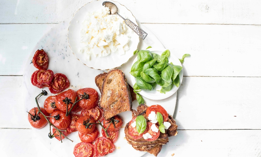 Recipe: Slow-roasted tomatoes with feta and basil